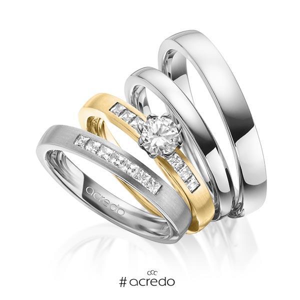 Set in Graugold 585 mit 0,4 ct. + zus. 0,39 ct. Prinzess-Diamant & Brillant tw, si tw, vs von acredo