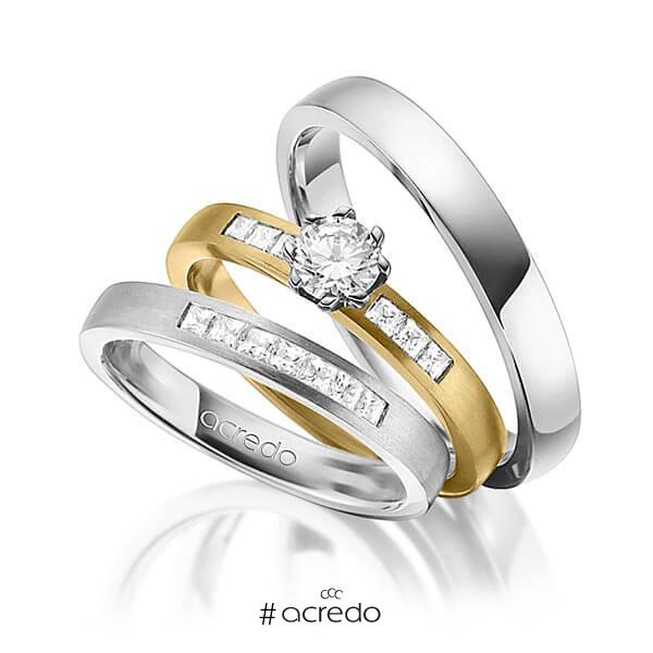 Set in Graugold 585 mit 0,4 ct. + zus. 0,39 ct. Prinzess-Diamant & Brillant tw, si tw, vs von acredo