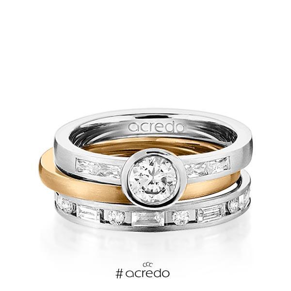 Set in Graugold 585 mit 0,5 ct. + zus. 1,005 ct. Brillant & Baguette-Diamant tw, si tw, vs von acredo