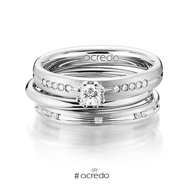 Set in Graugold 585 mit zus. 0,47 ct. Prinzess-Diamant & Brillant tw, si von acredo