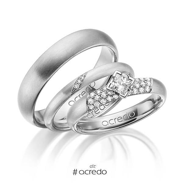 Set in Graugold 585 mit zus. 0,535 ct. Brillant & Prinzess-Diamant tw, si von acredo