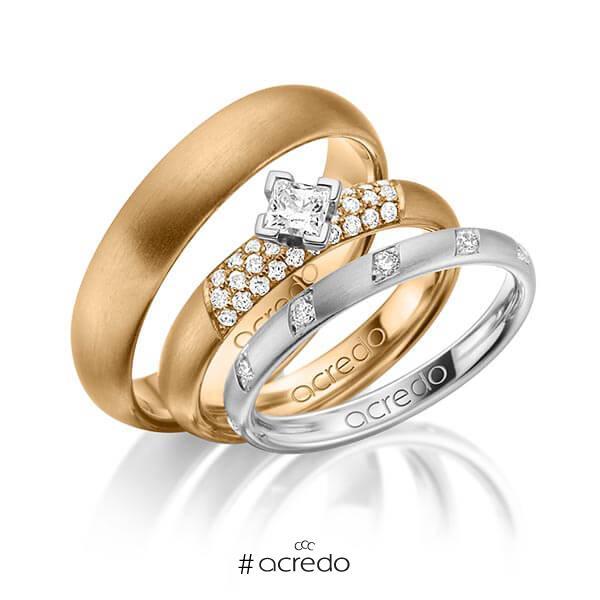Set in Graugold 585 mit zus. 0,74 ct. Brillant & Prinzess-Diamant tw, si von acredo