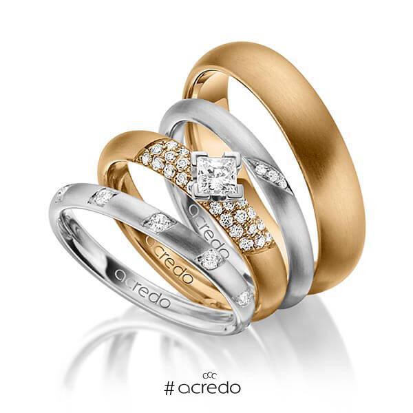 Set in Graugold 585 mit zus. 0,755 ct. Brillant & Prinzess-Diamant tw, si von acredo