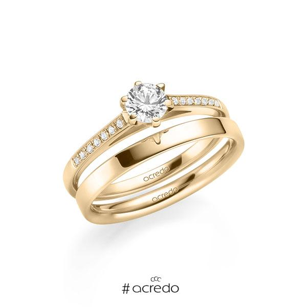 Set in Roségold 585 mit 0,4 ct. + zus. 0,07 ct. Brillant tw, si von acredo