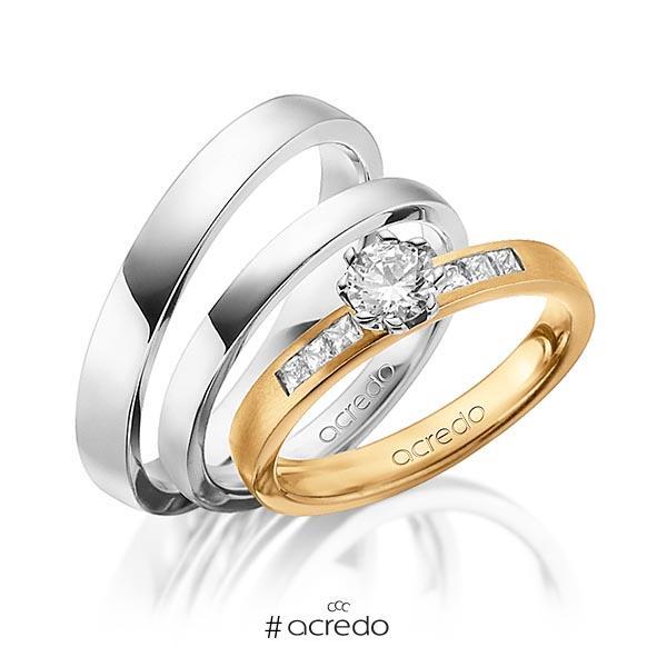 Set in Roségold 585 mit 0,4 ct. + zus. 0,18 ct. Prinzess-Diamant & Brillant tw, si tw, vs von acredo