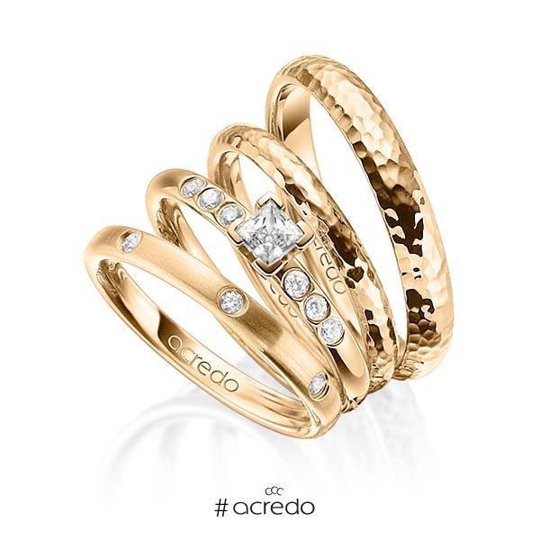 Set in Roségold 585 mit 0,4 ct. + zus. 0,26 ct. Brillant & Prinzess-Diamant tw, si tw, vs von acredo