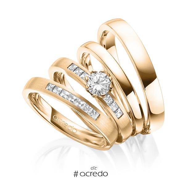 Set in Roségold 585 mit 0,4 ct. + zus. 0,39 ct. Prinzess-Diamant & Brillant tw, si tw, vs von acredo