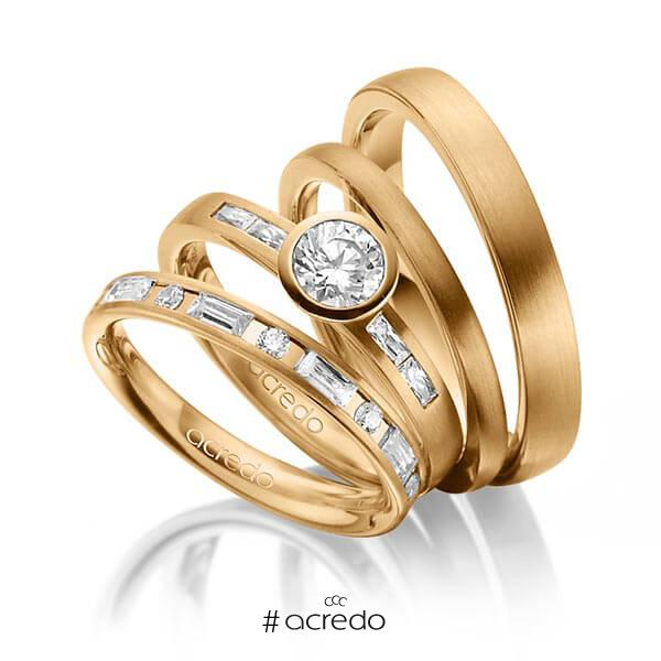 Set in Roségold 585 mit 0,5 ct. + zus. 1,005 ct. Brillant & Baguette-Diamant tw, si tw, vs von acredo