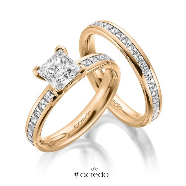 Set in Roségold 585 mit 1 ct. + zus. 1,05 ct. Brillant & Prinzess-Diamant tw, vs tw, si von acredo