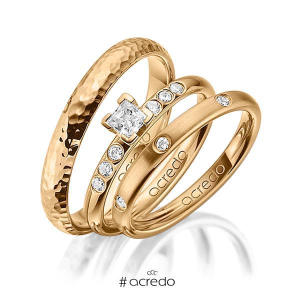 Set in Roségold 585 mit zus. 0,46 ct. Brillant & Prinzess-Diamant tw, si tw, vs von acredo