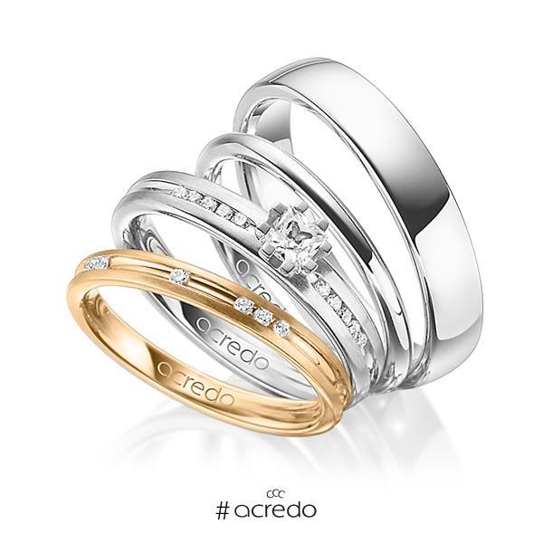 Set in Roségold 585 mit zus. 0,47 ct. Brillant & Prinzess-Diamant tw, si tw, vs von acredo