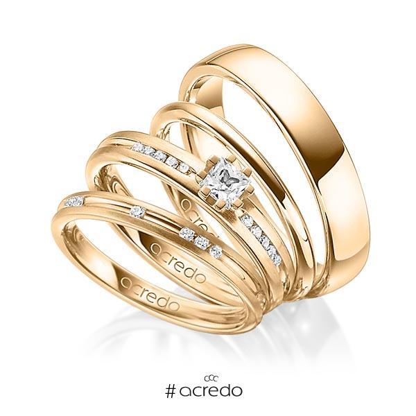 Set in Roségold 585 mit zus. 0,47 ct. Brillant & Prinzess-Diamant tw, si von acredo