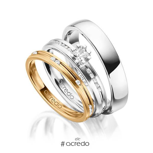 Set in Roségold 585 mit zus. 0,47 ct. Brillant & Prinzess-Diamant tw, si von acredo