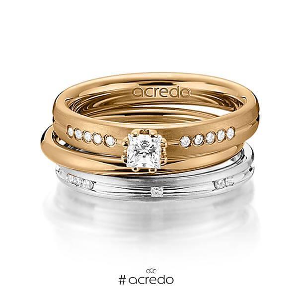 Set in Roségold 585 mit zus. 0,47 ct. Prinzess-Diamant & Brillant tw, si von acredo