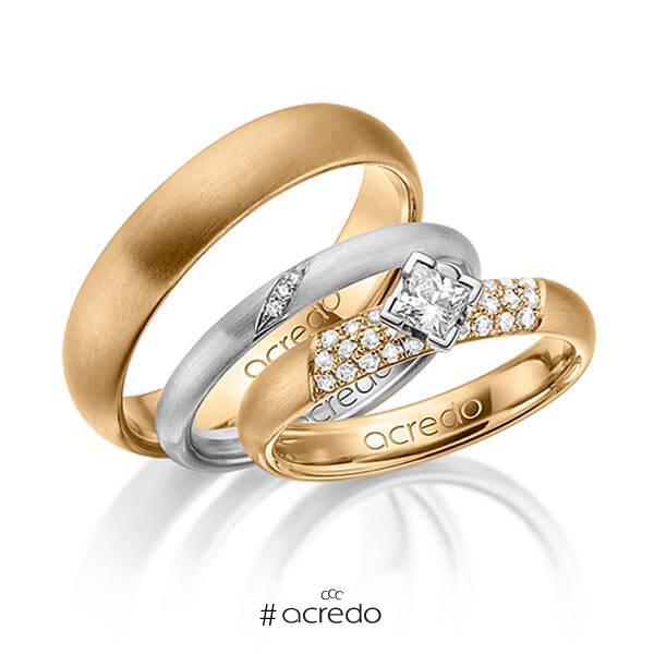 Set in Roségold 585 mit zus. 0,535 ct. Brillant & Prinzess-Diamant tw, si von acredo