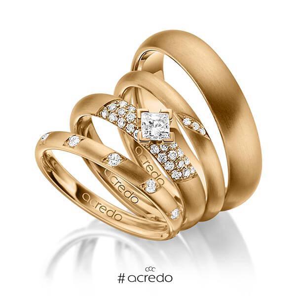 Set in Roségold 585 mit zus. 0,755 ct. Brillant & Prinzess-Diamant tw, si von acredo