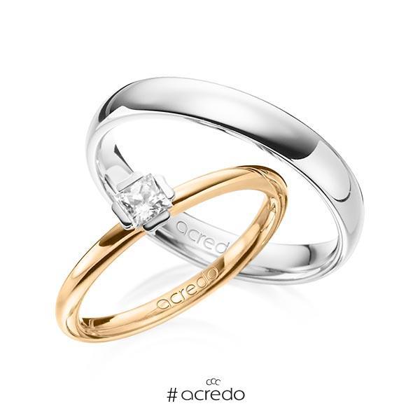 Set in Roségold 585 Weißgold 585 mit zus. 0,25 ct. Prinzess-Diamant tw, si von acredo