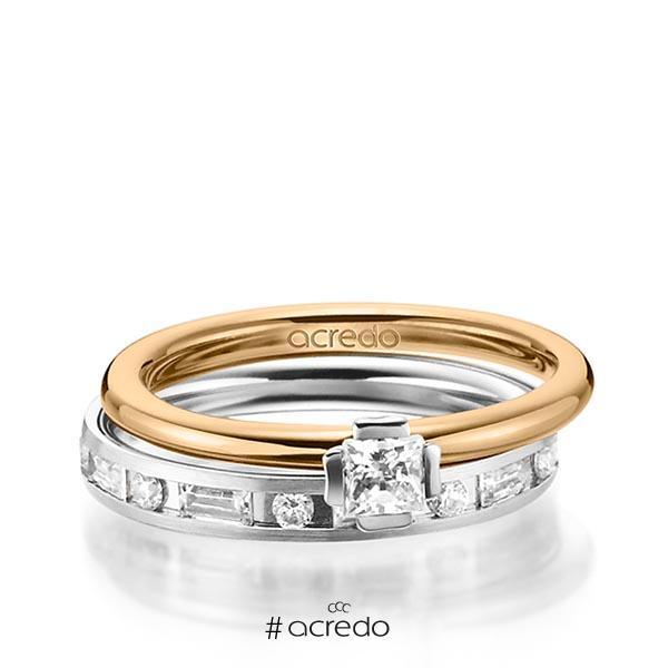 Set in Roségold 585 Weißgold 585 mit zus. 1,015 ct. Prinzess-Diamant & Brillant & Baguette-Diamant tw, si tw, vs von acredo