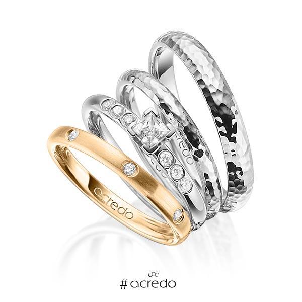 Set in Roségold 750 mit 0,4 ct. + zus. 0,26 ct. Brillant & Prinzess-Diamant tw, si tw, vs von acredo