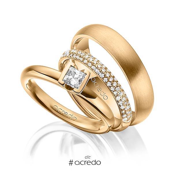 Set in Roségold 750 mit 0,4 ct. + zus. 0,38 ct. Prinzess-Diamant & Brillant tw, vs tw, si von acredo