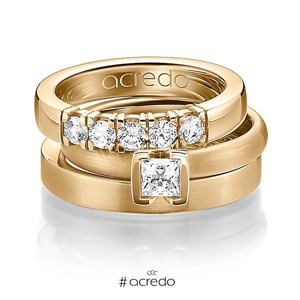 Set in Roségold 750 mit 0,4 ct. + zus. 0,3 ct. Brillant & Prinzess-Diamant tw, vs von acredo