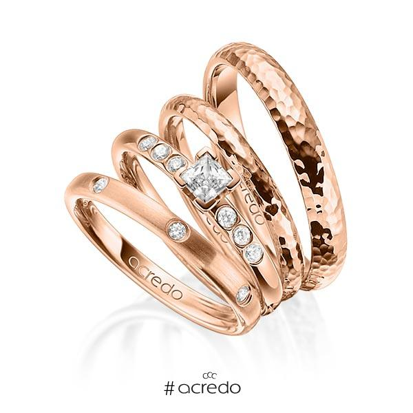 Set in Rotgold 585 mit 0,4 ct. + zus. 0,26 ct. Brillant & Prinzess-Diamant tw, si tw, vs von acredo