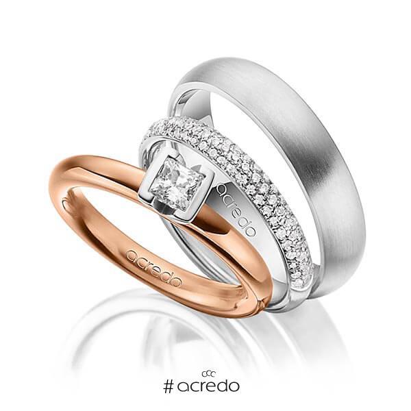 Set in Rotgold 585 mit 0,4 ct. + zus. 0,38 ct. Prinzess-Diamant & Brillant tw, vs tw, si von acredo