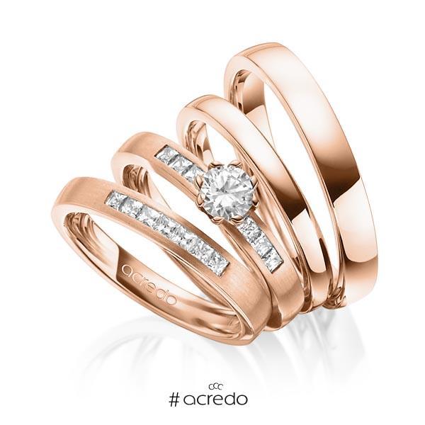 Set in Rotgold 585 mit 0,4 ct. + zus. 0,39 ct. Prinzess-Diamant & Brillant tw, si tw, vs von acredo