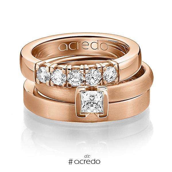 Set in Rotgold 585 mit 0,4 ct. + zus. 0,3 ct. Brillant & Prinzess-Diamant tw, vs von acredo