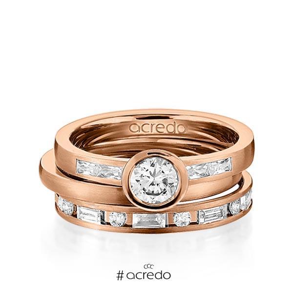 Set in Rotgold 585 mit 0,5 ct. + zus. 1,005 ct. Brillant & Baguette-Diamant tw, si tw, vs von acredo