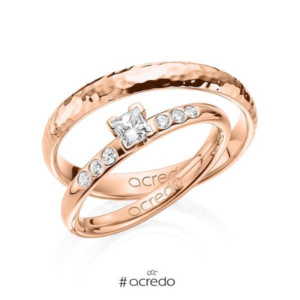 Set in Rotgold 585 mit zus. 0,32 ct. Prinzess-Diamant tw, vs tw, si von acredo
