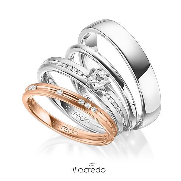 Set in Rotgold 585 mit zus. 0,47 ct. Brillant & Prinzess-Diamant tw, si tw, vs von acredo
