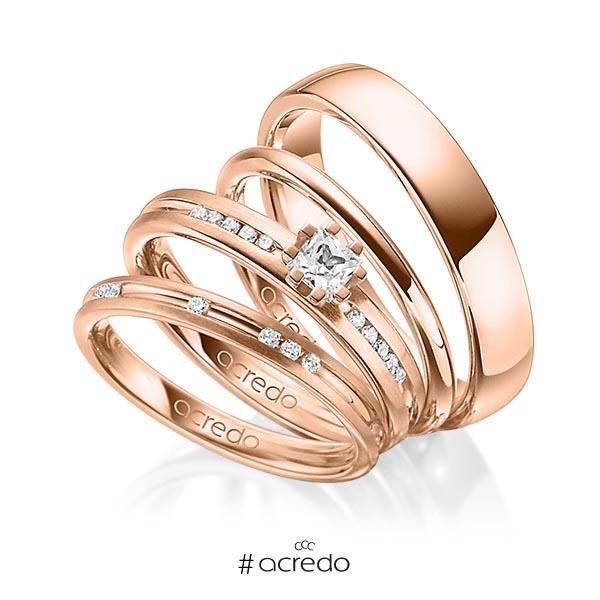 Set in Rotgold 585 mit zus. 0,47 ct. Brillant & Prinzess-Diamant tw, si von acredo
