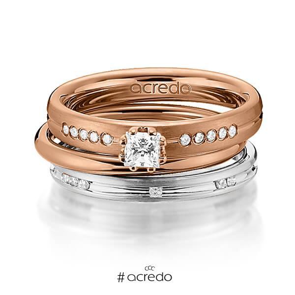 Set in Rotgold 585 mit zus. 0,47 ct. Prinzess-Diamant & Brillant tw, si von acredo
