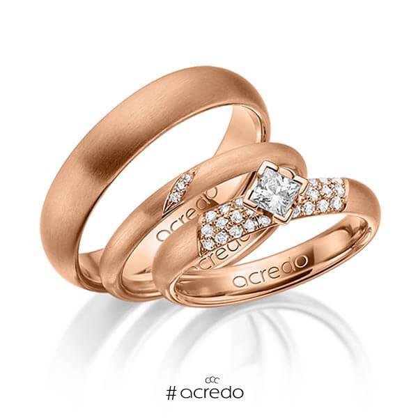 Set in Rotgold 585 mit zus. 0,535 ct. Brillant & Prinzess-Diamant tw, si von acredo