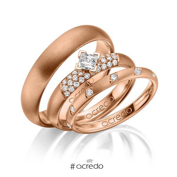 Set in Rotgold 585 mit zus. 0,74 ct. Brillant & Prinzess-Diamant tw, si von acredo