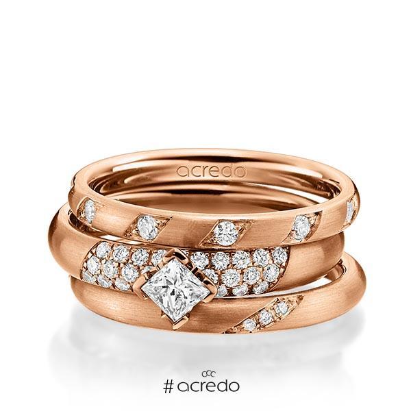 Set in Rotgold 585 mit zus. 0,755 ct. Brillant & Prinzess-Diamant tw, si von acredo