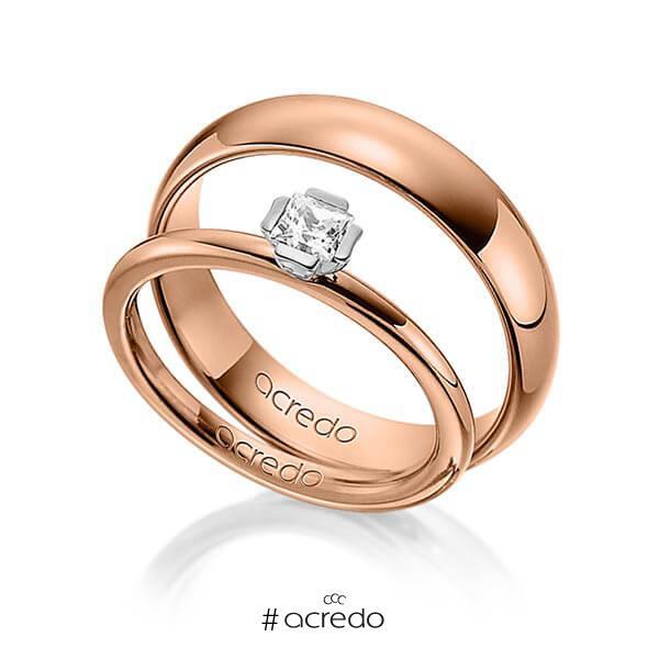 Set in Rotgold 585 Weißgold 585 mit zus. 0,25 ct. Prinzess-Diamant tw, si von acredo