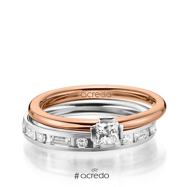Set in Rotgold 585 Weißgold 585 mit zus. 1,015 ct. Prinzess-Diamant & Brillant & Baguette-Diamant tw, si tw, vs von acredo