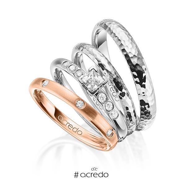 Set in Rotgold 750 mit 0,4 ct. + zus. 0,26 ct. Brillant & Prinzess-Diamant tw, si tw, vs von acredo