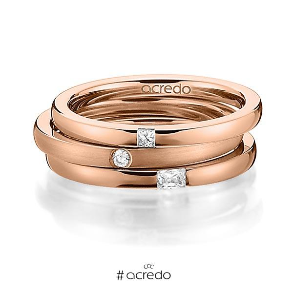 Set in Rotgold 750 mit zus. 0,125 ct. Prinzess-Diamant & Brillant & Baguette-Diamant tw, si tw, vs von acredo