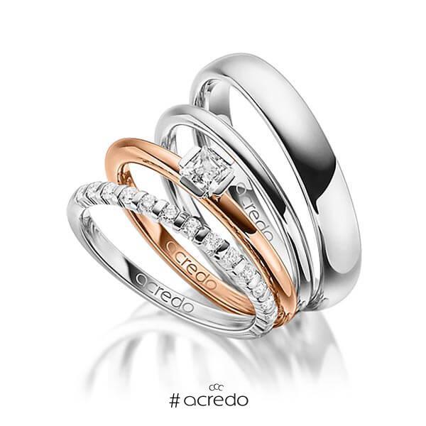 Set in Weißgold 585 halbausgefasst mit zus. 0,67 ct. Brillant & Prinzess-Diamant tw, vs tw, si von acredo