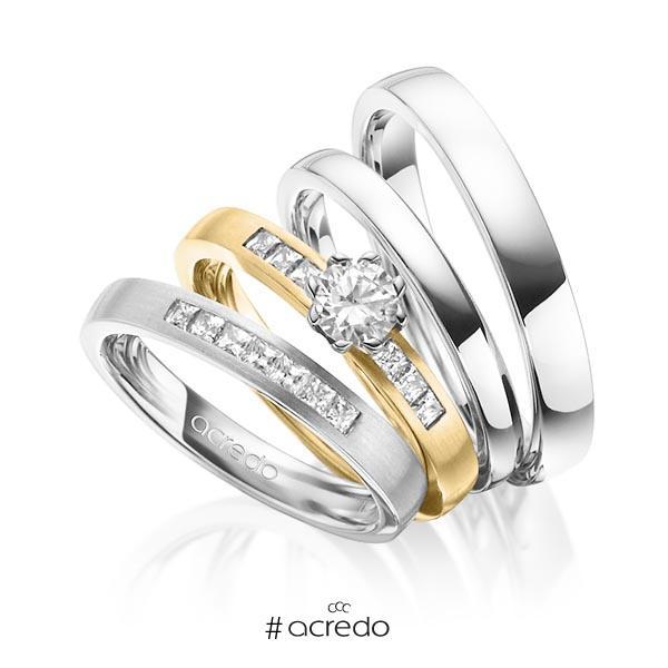 Set in Weißgold 585 mit 0,4 ct. + zus. 0,39 ct. Prinzess-Diamant & Brillant tw, si tw, vs von acredo