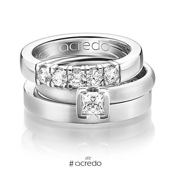Set in Weißgold 585 mit 0,4 ct. + zus. 0,3 ct. Brillant & Prinzess-Diamant tw, vs von acredo