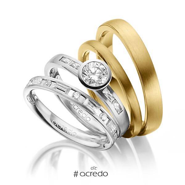 Set in Weißgold 585 mit 0,5 ct. + zus. 1,005 ct. Brillant & Baguette-Diamant tw, si tw, vs von acredo