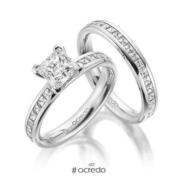 Set in Weißgold 585 mit 1 ct. + zus. 1,05 ct. Brillant & Prinzess-Diamant tw, vs tw, si von acredo