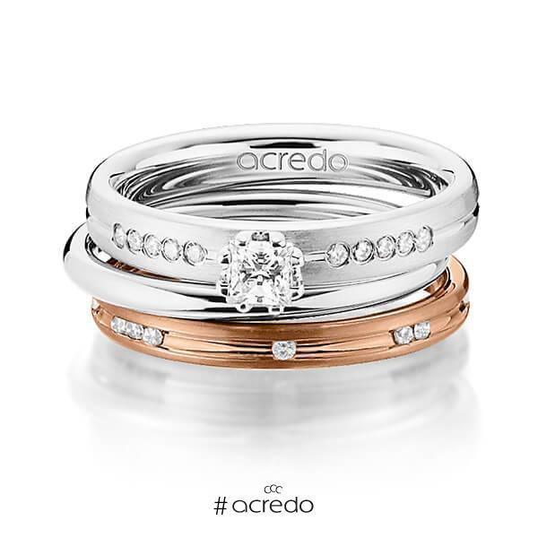 Set in Weißgold 585 mit zus. 0,47 ct. Prinzess-Diamant & Brillant tw, si von acredo