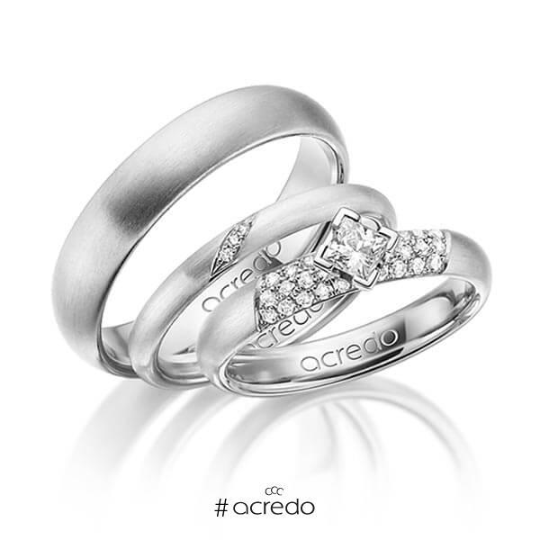 Set in Weißgold 585 mit zus. 0,535 ct. Brillant & Prinzess-Diamant tw, si von acredo