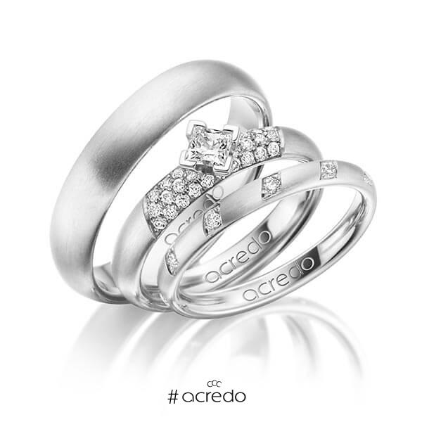Set in Weißgold 585 mit zus. 0,74 ct. Brillant & Prinzess-Diamant tw, si von acredo
