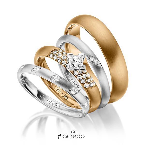 Set in Weißgold 585 mit zus. 0,755 ct. Brillant & Prinzess-Diamant tw, si von acredo